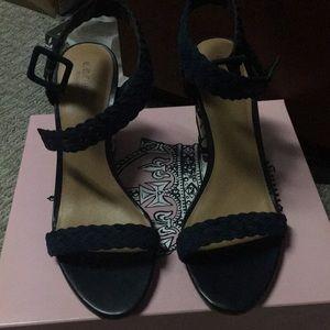 Printed block heel sandals, braided ankle strap